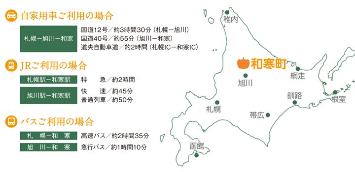 北海道和寒町へのアクセス